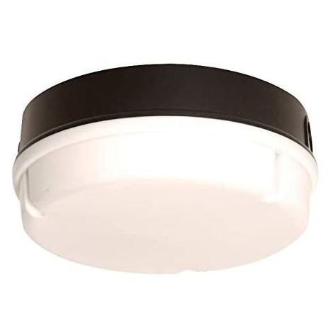 CGC 14W LED 4000K Round Bulkhead Wall Ceiling IP65 Indoor or Outdoor Light (28W 2D Alternative) Black Opal