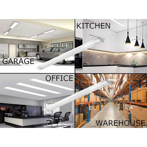 CGC 45W 5ft 1.5m Slim LED IP65 Waterproof Batten Strip Light Garage Kitchen Workshop Shed Store Cupboard 4000k Natural White Weatherproof Non Corrosive Tri proof NCF Indoor or Outdoor