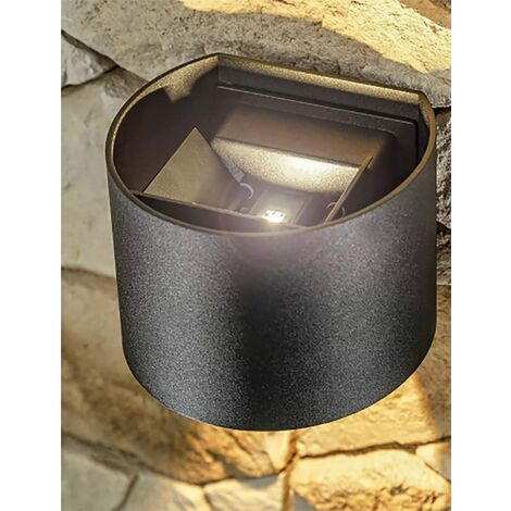 CGC 6W Curved Black LED Wall Light Lamp Up and Down with Adjustable Beam Angles 3000k Warm White Light IP65 Indoor Outdoor Garden Patio Door Porch