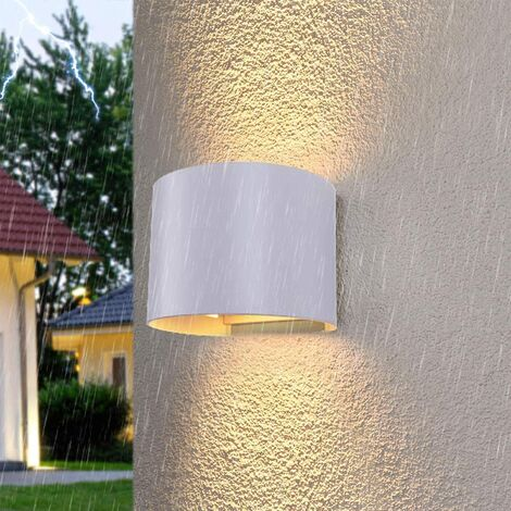 CGC 6W Curved Grey LED Wall Light Lamp Up and Down with Adjustable Beam Angles 3000k Warm White Light IP65 Indoor Outdoor Garden Patio Door Porch