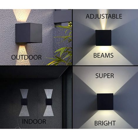 CGC 6W Grey Square LED Wall Light Lamp Up and Down with Adjustable Beam Angles 3000k Warm White Light IP65 Indoor Outdoor Garden Door Porch Patio