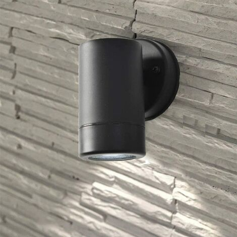 CGC Black Cylinder GU10 Up or Down Wall Light Polycarbonate Weatherproof Ideal For Coastal Locations Indoor Outdoor Garden Patio Door Garage Porch IP44 Mains Power 240V