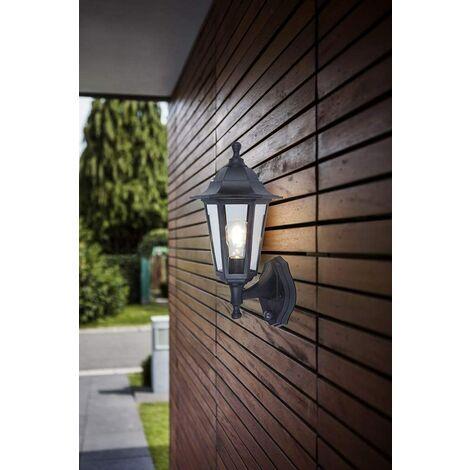 CGC Black Garden Traditional Lantern Light Security Motion Sensor PIR E27 Standard Screw Wall Light Outdoor Garden Patio Drive Driveway Lamp Light