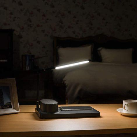 CGC Black Modern Slim LED Desk Lamp With Integrated Bluetooth Speaker & Wireless Mobile Phone Charger & Digital Clock Bed Desk Table Lamp