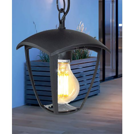 CGC Black Outdoor Hanging Light Coach Lantern Suspended Ceiling Fixture E27 Standard Screw Lampholder IP54 Weatherproof