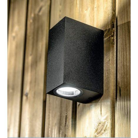 CGC Black Square Edge Up and Down Rectangular Twin GU10 Wall Light IP54 Weatherproof Indoor Outdoor Garden Patio Garage Porch Driveway