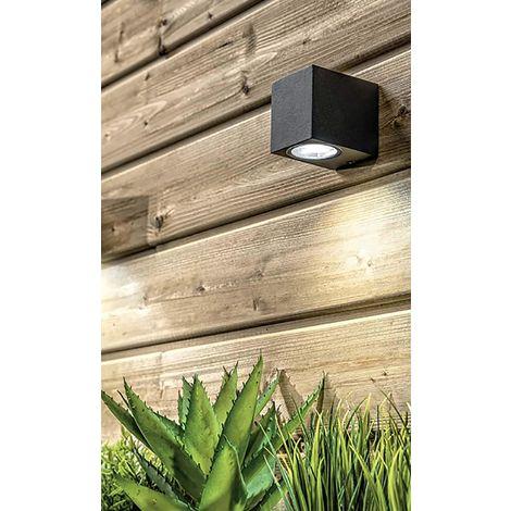 CGC Black Square Edge Up or Down Rectangular Single GU10 Wall Light IP54 Weatherproof Indoor Outdoor Garden Patio Garage Porch Driveway