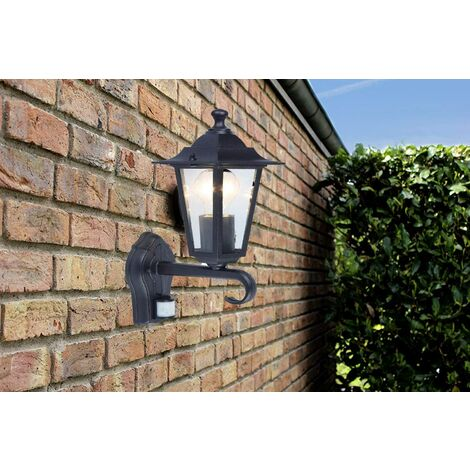 CGC Black Wall Lantern with PIR Coach Light E27 Standard Screw Type IP44 Weatherproof For Outdoor Garden Wall Patio Garage Door