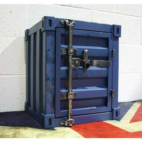 CGC Blue Industrial Shipping Container Table Storage Shelf Unit Vintage Bedside Coffee Side Table Chest Drawer Bedroom Bed Side Lounge Dining Room Office