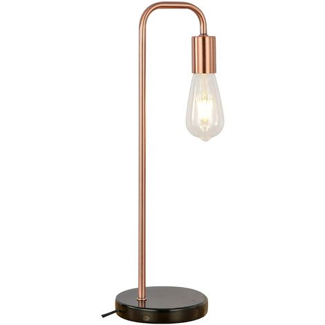 CGC Copper Table Lamp with Black Marble Style Base Ideal For Vintage Style Filament Bulbs (Not Included) Bedroom Kitchen Lounge Hallway Dining Room Office Study Reading Light