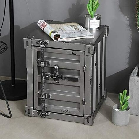 CGC Grey Industrial Shipping Container Table Storage Shelf Unit Vintage Bedside Coffee Side Table Chest Drawer Bedroom Bed Side Lounge Dining Room Office