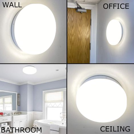 CGC IP44 13W LED Round Ceiling Wall Light with Microwave Motion Sensor, 13W, 4000K, 1100lm, AC220-240V IP44, White body Ideal Porch Toilet Bathroom Garage Light Lamp