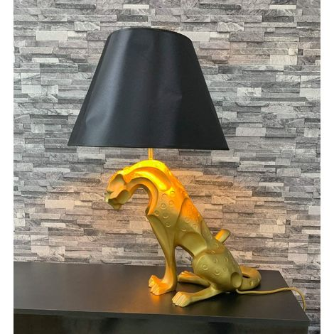 CGC Large Gold Leopard Big Cat Table Lamp with Black Shade