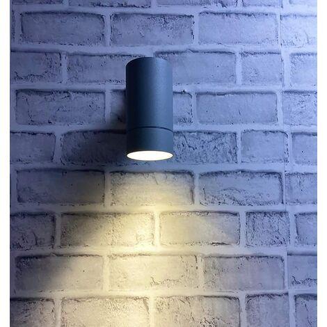 CGC Large Matt Grey Outdoor Indoor Up or Down Cylinder Wall Light Requires 1 x E27 Standard Screw in Bulbs IP54 Indoor Outdoor Garden Patio Porch Door