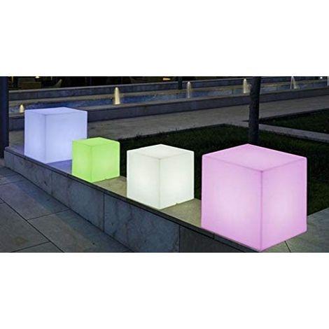 CGC Large Outdoor Garden White Solar Cube Light RGB Controllable Colour Changing 43cm x 43cm x 43cm Floor Table Grass Patio Lawn Garden Modern Trendy Furniture Light Beach Club