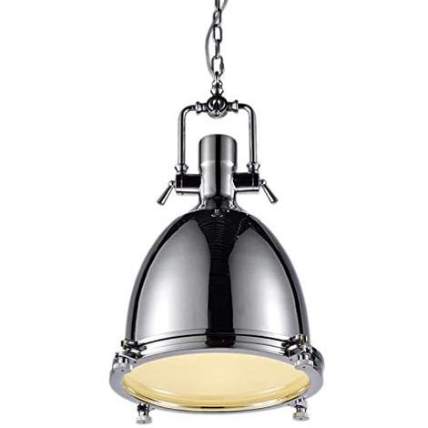 CGC Large Polished Chrome Vintage Industrial Suspended Pendant Light Height 57cm Diameter 36cm 1.5m Adjustable Suspension Chain & Matching Ceiling Rose Kitchen Breakfast Bar Lounge Dining Room Table