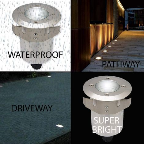CGC Marine Grade Stainless Steel Round GU10 Walkover Lights IP65 Outdoor Garden Driveway