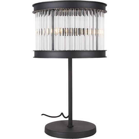 CGC Matt Black and Genuine Crystal Contemporary Table Lamp Light Bedroom Lounge Dining Room 60cm Height 35cm Diameter