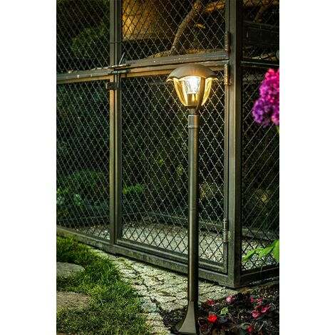 CGC Matt Black Curved Decorative 1m Post Bollard Lantern Outdoor Garden E27 Standard Screw Coach Lantern Light Porch Patio Garden Mains Power 240V Contemporary