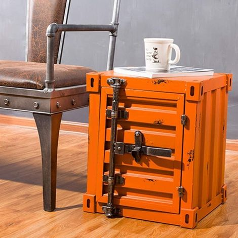 CGC Orange Industrial Shipping Container Table Storage Shelf Unit Vintage Bedside Coffee Side Table Chest Drawer Bedroom Bed Side Lounge Dining Room Office