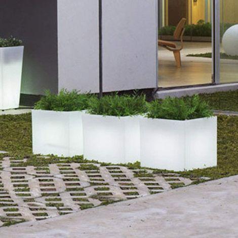 CGC Outdoor Garden Plant Pot Solar Cube Square Light RGB Controllable Colour Changing 30cm Floor Grass Patio Lawn Garden Modern Trendy Furniture Light Beach Club