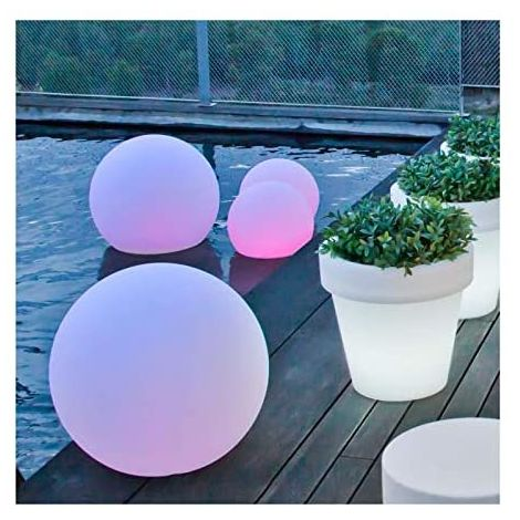 CGC Outdoor Garden White Solar Round Globe Light RGB Controllable Colour Changing 30cm Floor Table Grass Patio Lawn Garden Modern Trendy Furniture Light Beach Club