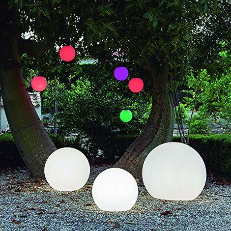 CGC Outdoor Garden White Solar Round Globe Light RGB Controllable Colour Changing 40cm