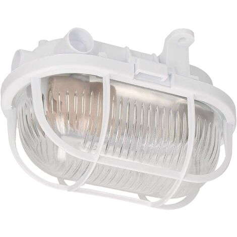 CGC Oval Glass White Cage E27 Wall Ceiling Light Bulkhead Surface Mount IP54 Weatherproof Indoor Outdoor Garden Porch Garage Patio