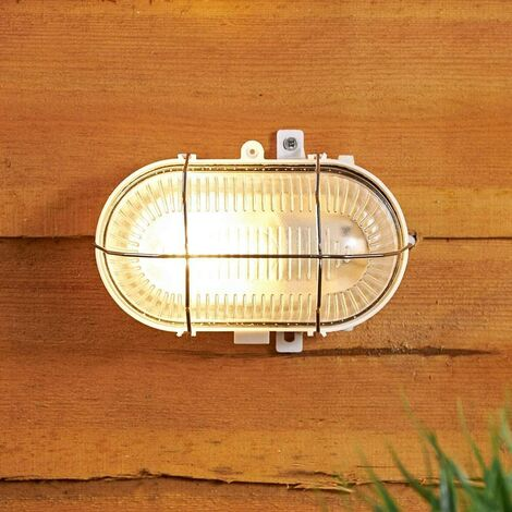 CGC Oval Glass White Metal Cage E27 Wall Ceiling Light Bulkhead Surface Mount IP54 Weatherproof Indoor Outdoor Garden Porch Garage Patio