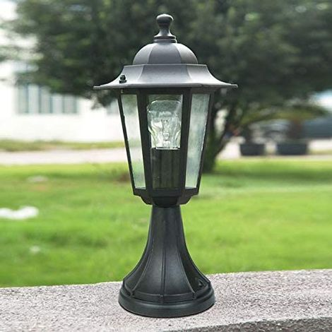 CGC Pedestal Small Post Lantern in Black Coach Light E27 Standard Screw Type IP44 Weatherproof For Outdoor Garden Wall Patio Garage Door