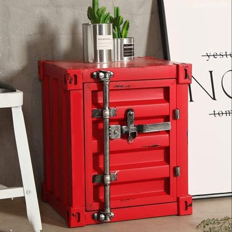 CGC Red Industrial Shipping Container Table Storage Shelf Unit Vintage Bedside Coffee Side Table Chest Drawer Bedroom Bed Side Lounge Dining Room Office