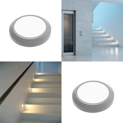 CGC Round Circular Slim Suface Mount LED Wall Light Indoor or Outdoor Grey Opal IP65 3W 200lm Warm White 3000k 240V Mains Power Garden Patio Porch Hallway Drive Way Kitchen Bathroom Stairs
