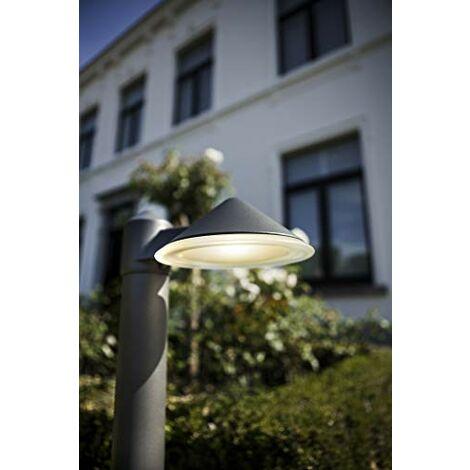 CGC Round Cone LED Post Bollard Light 12W 780lm 4000k Natural White Dark Grey Anthracite Finish IP54 Garden Porch Patio Outdoor Light Lamp