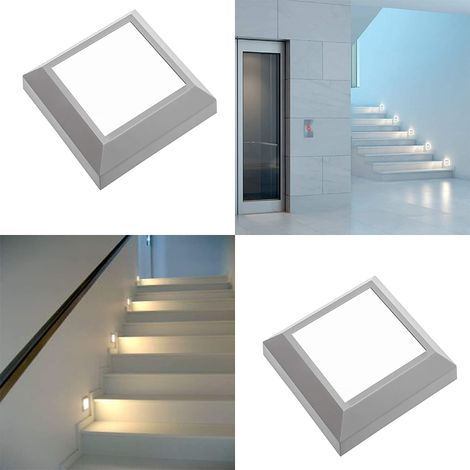 CGC Square Slim Suface Mount LED Wall Light Indoor or Outdoor Grey Opal IP65 4W 250lm Warm White 3000k 240V Mains Power Garden Patio Porch Hallway Drive Way Kitchen Bathroom Stairs