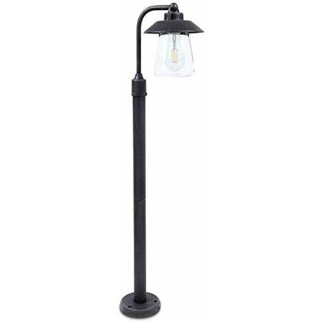 CGC Traditional Style Glass Diffuser Post Bollard Light Lantern E27 Standard Screw Antique Bronze Finish IP44 Garden Porch Patio Outdoor Light Lamp
