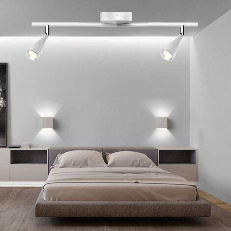 CGC White Indoor Adjustable Twin Ceiling Spot LED Bar Light in 4000k Natural White Colour Temperature Bedroom Kitchen Lounge Dining Room Double