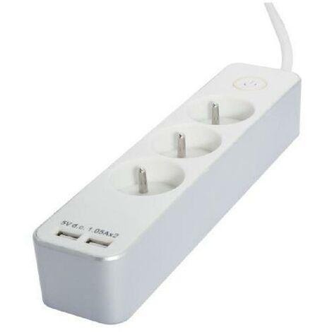 CHACON Bloc multiprise 3 prises 16 A avec 2 ports USB et câble 1.5 m HO5VV-F 3x1.5 mm² blanc et argenté