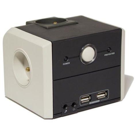 CHACON BLOC MULTIPRISE CUBIQUE PARAFOUDRE 3 PRISES 16A AVEC 2 USB 1,5M GRIS ET NOIR 124378845
