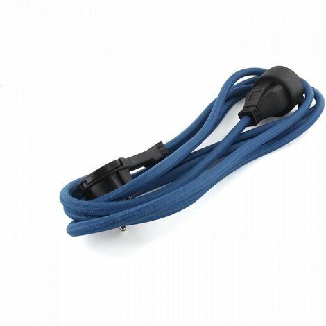 """main image of """"CHACON Prolongateur textile 3m 3x1,5m2 textile cable & noire fiche plate bleu paon"""""""