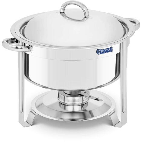 Chafing dish Professionnel Bain-Marie Chauffe-Plat Couvercle Inox 1 Brûleur 7,6L