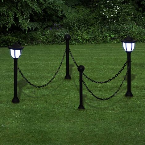 Chain Fence with Solar Lights Two LED Lamps Two Poles - Grey