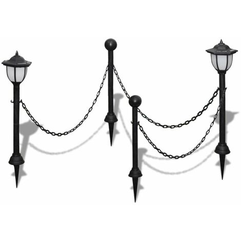 Chain Fence with Solar Lights Two LED Lamps Two Poles QAH26280