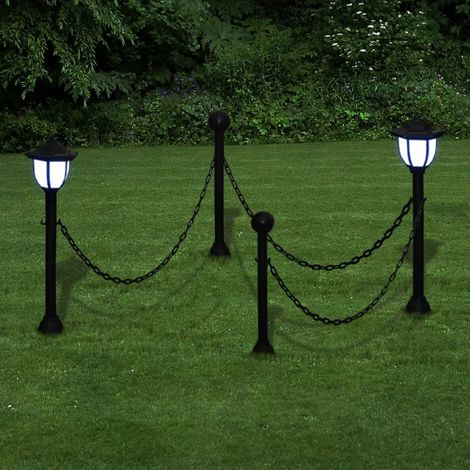 Chain Fence with Solar Lights Two LED Lamps Two Poles VD26280