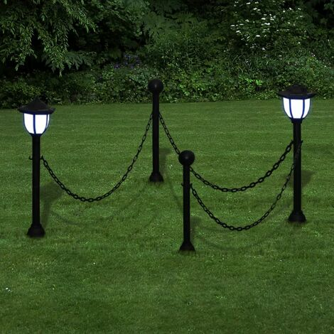 Chain Fence with Solar Lights Two LED Lamps Two Poles VDTD26280
