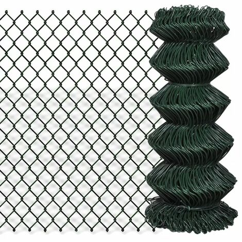 Chain Link Fence Galvanised Steel 0.8x15 m Green