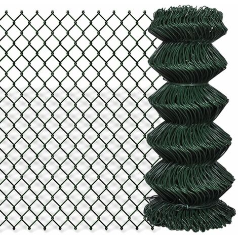 Chain Link Fence Galvanised Steel 0.8x25 m Green