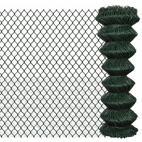 Chain Link Fence Galvanised Steel 1.25x15 m Green