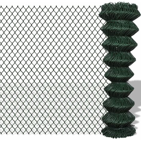 Chain Link Fence Galvanised Steel 1.5x15 m Green