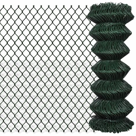 Chain Link Fence Galvanised Steel 1x15 m Green