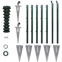Chain-Link Fence Set Posts Spike Anchors & Other Fittings 0,8 x 15 m